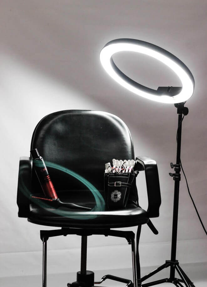Chair with makeup products and led light - beauty content marketing strategies